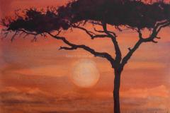 Serengeti Sunset - Watercolor 15x22