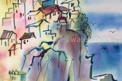 Hill Town, Cinque Terre, Italy - Watercolor, 15 x 22
