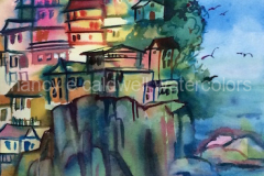 Hill Town, Cinque Terre, Italy (demo) -  Watercolor, 15 x 22