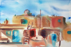 Pueblo,  New Mexico - Watercolor - 15x22