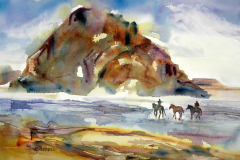 Morro Rock, Morra Bay, CA - Watercolor, 15x22