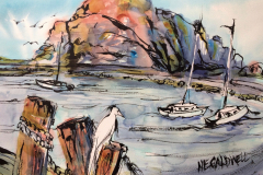 Morro Rock, Morro Bay, CA - Mixed Meda  22x30
