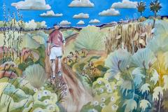 Spring in the Wetlands, Huntington Beach, CA - Watercolor 15x22