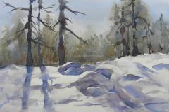 Winter Morning, Utah - Watercolor 15x22