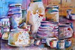 Colorful Pots - Watercolor 11x15