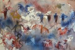 Petroglyph Wall - Watercolor 22x30