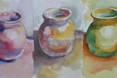 Vase Triad - Watercolor 22x11