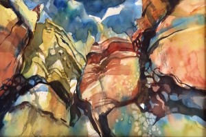 Canyon Walls, Watercolor, 15 x 22