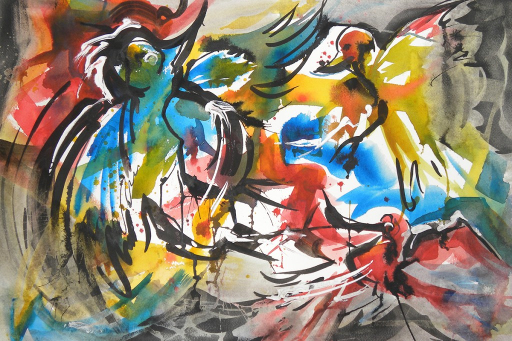 Frenzied Feathered Friends Watercolor and India Ink   15x22