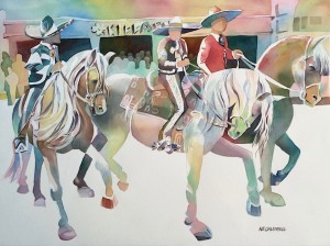 Horses Dancing, Watercolor, 22 x 30