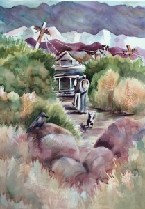 Keeler, The Church of the Mohave, Watercolor, 22 x 30