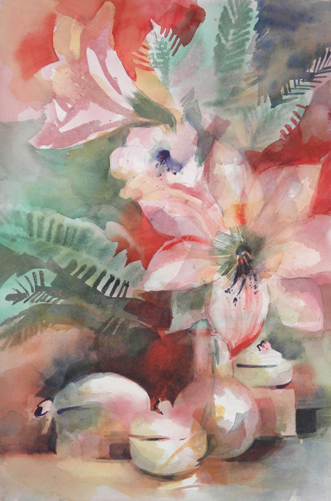 Pink Amaryllis  Watercolor 30x22