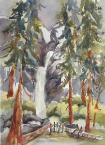 Yosemite Falls (plein air) Watercolor   15x11